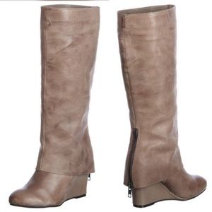 STEVE MADDEN Taupe Knee High Wedge Boots